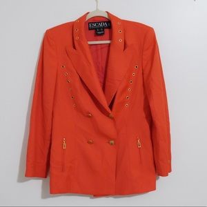 ESCADA VINTAGE 90s CORAL BLAZER WITH GOLD EYELETS
